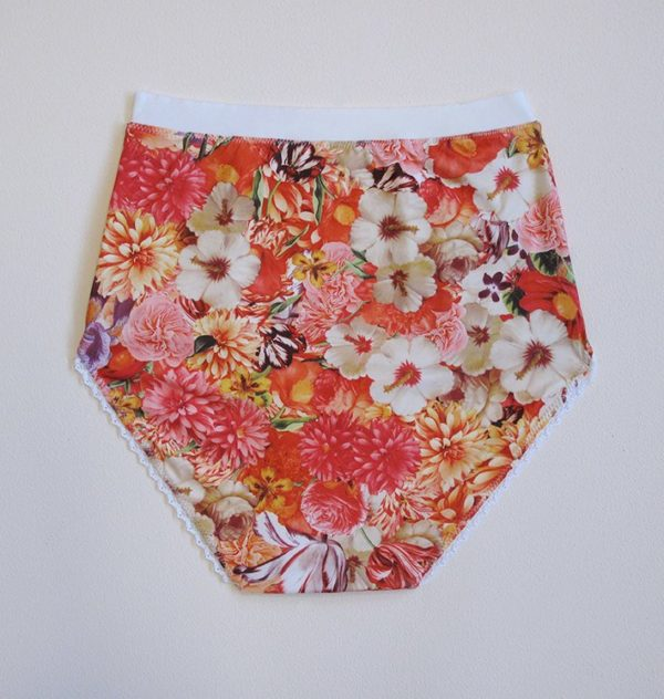 red panties high waisted with printed flower jersey back