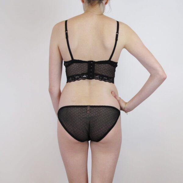 See through lingerie set longline bralette and sheer panties back
