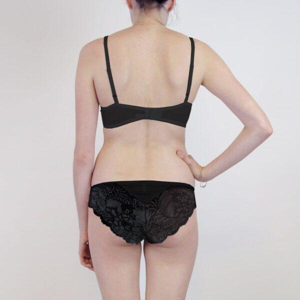 Sheer high end lingerie set back black silk and lace lingerie