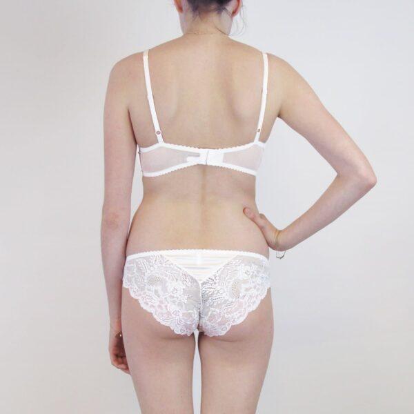 Sheer high end lingerie set back bridal silk and lace lingerie