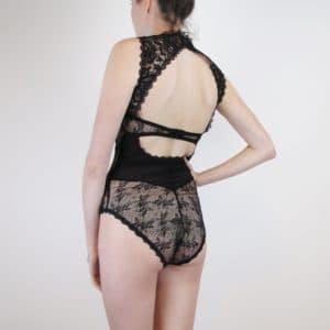 sheer lace black bodysuit back