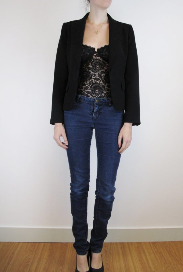 sheer lace black bodysuit jeans and jacket