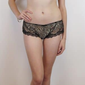 Sheer lace boyshort in gold and black lace