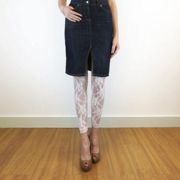 Sheer lace leggings with denim skirt