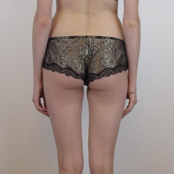 Sheer lace short in gold lace back