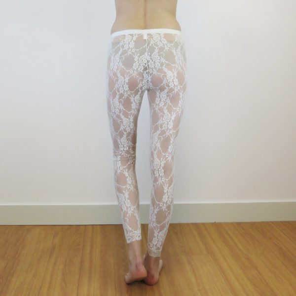 Sheer legging in stretch lace