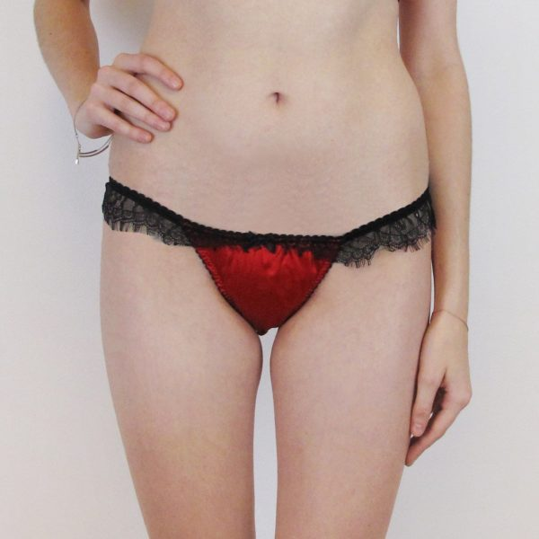 silk red thong with black lace