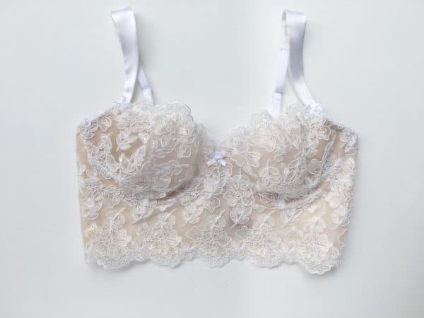 White luxury handmade bra in calais lace front