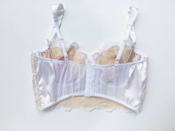 White luxury handmade bra in calais lace back