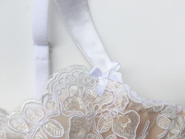 White luxury handmade bra in calais lace strap