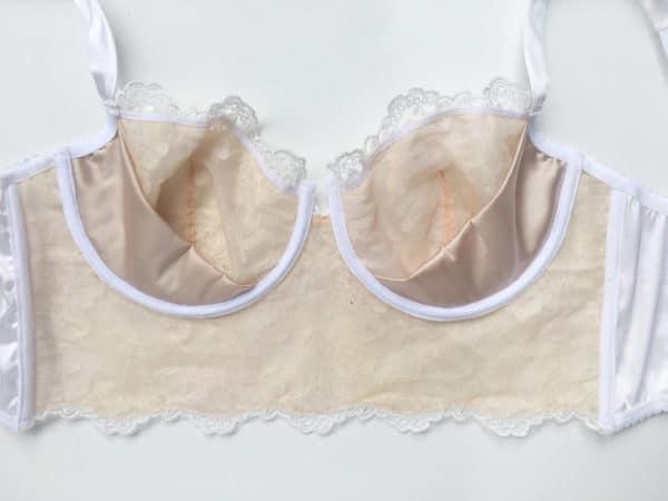 White luxury handmade bra in calais lace inside