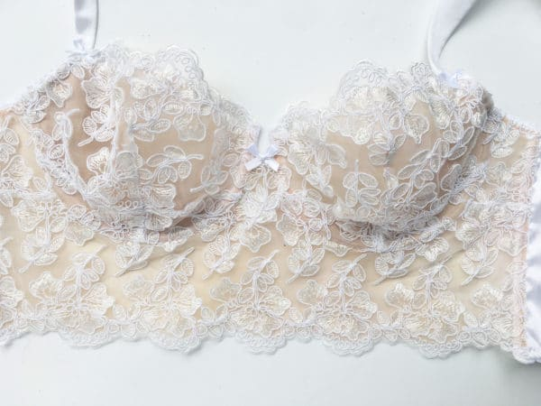 White luxury handmade bra in calais lace front 3