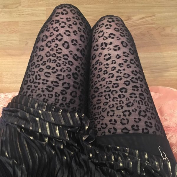 black stockings animal print in mesh