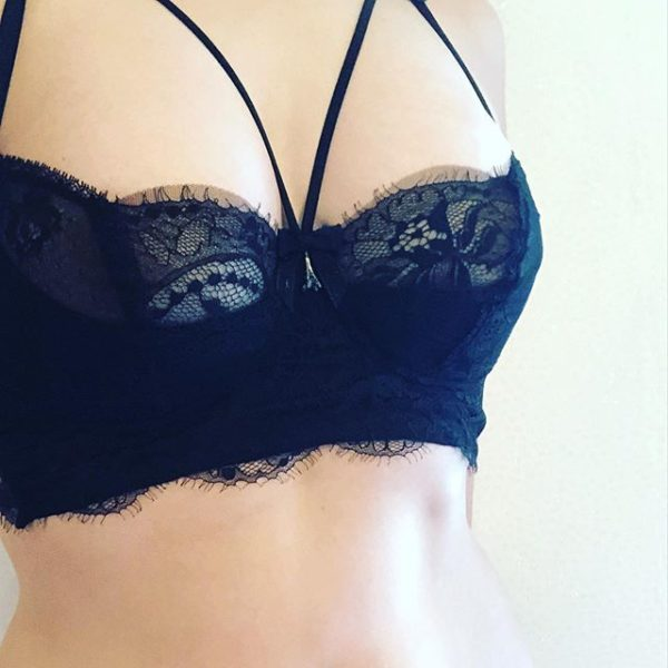 Sheer balconette lace bra