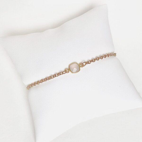 semi precious jewelry bracelet in gold and silver