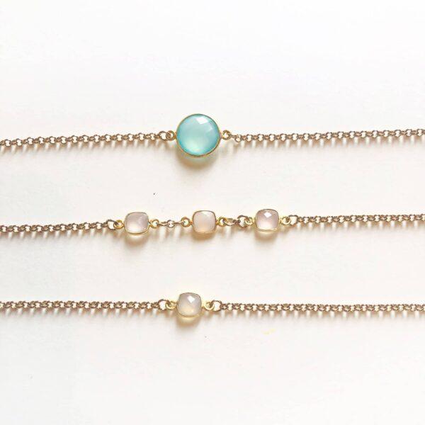 Semi precious stone bracelet in gold