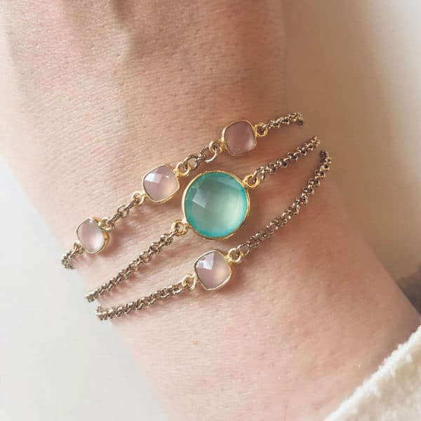 Pink Semi precious stone bracelet in gold mix and match