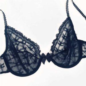Sheer bra in black lace