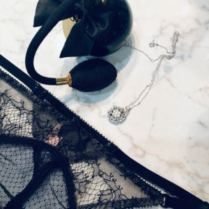 Sheer black lace Gstring flatlay