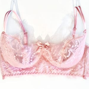 Sheer pink lace bra