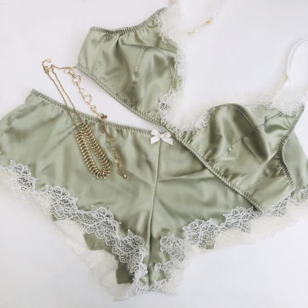 Green Silk and lace lingerie set