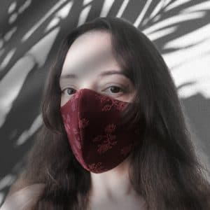 Dark red lace facemask