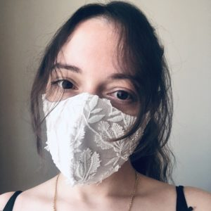 Silk and lace facemask white