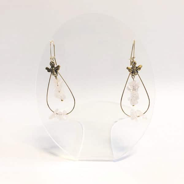 gold filled hoop earrings with pink stone